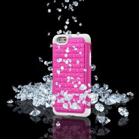 Stars Sparkle Design - iPhone 6s Plus Case, Fosmon HYBO-SD Sparkle Diamond Star Design Hybrid Case for Apple iPhone 6 Plus (2014) / iPhone 6s Plus (2015) - Sku Blue / White