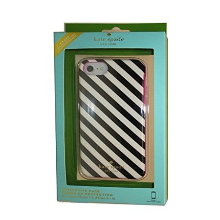 Kate Spade New York Diagonal Stripe Protective Rubber Case For iPhone 7 & iPhone 6 - Black - Kate Spade Stripes