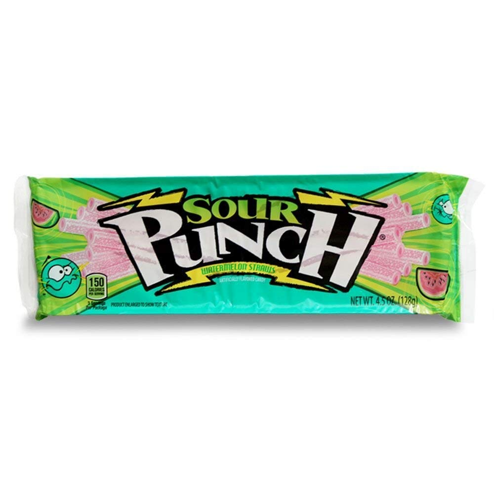 (3 pack) Sour Punch Straws, Sour Watermelon Soft & Chewy Candy, 4.5oz