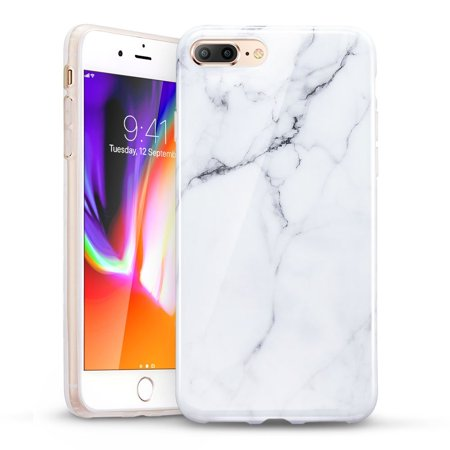 big sale 149c9 20616 iPhone 8 Plus Case, iPhone 8 Plus Marble Case, ESR Slim Fit Soft TPU Rubber  Silicone Cover [Support Wireless Charging] for 5.5