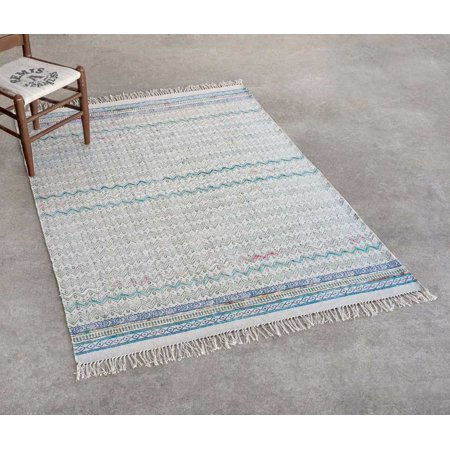(Madeline Block Print Cotton Rug with Recycled Silk Yarn Embroidery, 4' x 6')