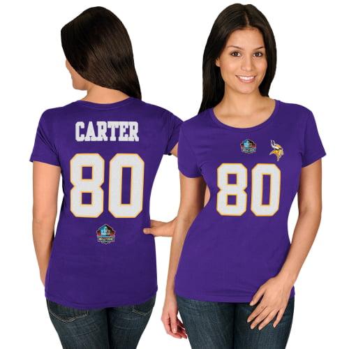 Cris Carter Minnesota Vikings Majestic Women's Hall of Fame Fair Catch V T-Shirt - Purple