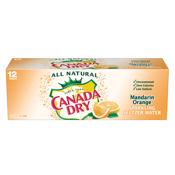 Canada Dry Mandarin Orange Sparkling Seltzer Water 12 oz Cans - Pack of 24