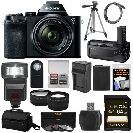 CHEAP Sony Alpha A7 Digital Camera & 28-70mm FE OSS Lens (Black) with VG-C1EM Grip + 64GB Card + Case + Battery + Tripod + Flash + 2 Lenses Kit OFFER