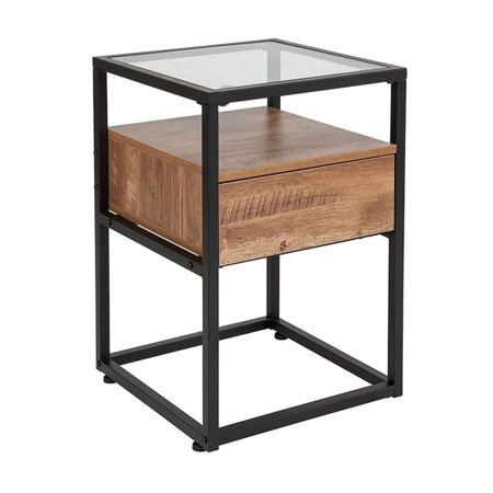 Offex Glass End Table with Rustic Wood Grain Finish Pull out Drawer and (Best Finish To Bring Out Wood Grain)