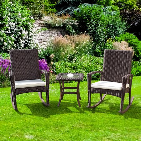 Gymax 3PC Patio Rattan Wicker Furniture Set Cushioned Outdoor Garden ()