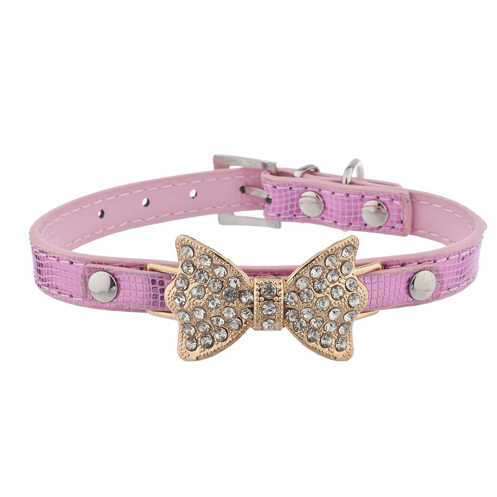 Lux Accessories Gold Tone Pink Pave Bow Sequin Fashion Pet Cat Dog Collar