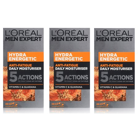 L'Oreal Men's Expert Hydra Energetic Anti Fatigue Daily Moisturizer, 50 ml (1.7 Oz) (Pack of 3)