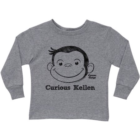 Personalized Curious George Curious Kid Gray Toddler Boy Long Sleeve Tee
