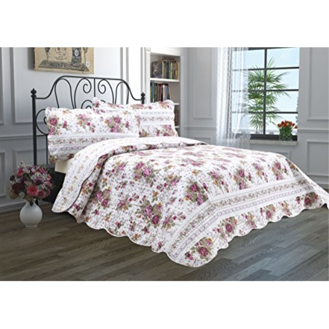 2 Piece Quilt Set with Sham Reversible Bedspread Matelasse Bedcover DoubleSided Bedding Coverlet Lightweight Comforter Linen Loo