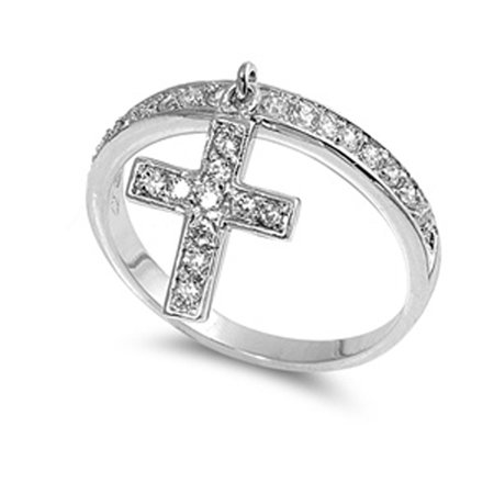 Sterling Silver Women's Clear CZ Dangle Cross Ring Cute Band 12mm Size (9 Trailkicker Womens Cross)