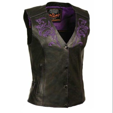 Milwaukee Leather Women's Vest, Reflective Design & Piping (Med) - Medium ML1296 ()