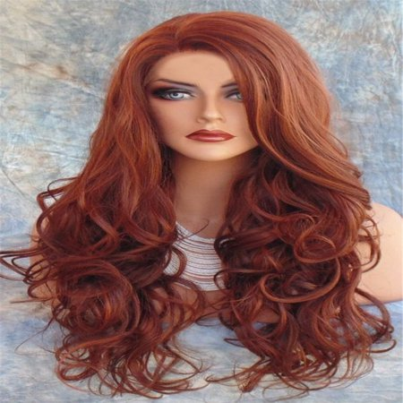 Amazing Star Full Cap Wig Red Color Long Natural Wavy Middle Part Synthetic Lace Wigs For Women Heat Resistant, (Its A Wig Synthetic Lace Full Wig Sun)