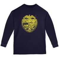 Born and Raised Oregon State Flag Youth Long Sleeve T Shirt Navy YLG