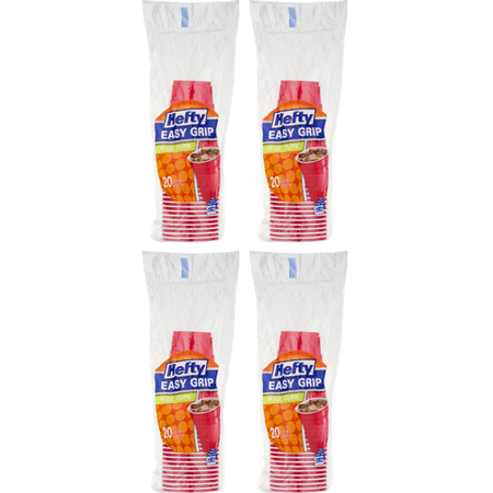 (4 Pack) Hefty Easy Grip Cups, 18 Oz, 20 - Party Capes