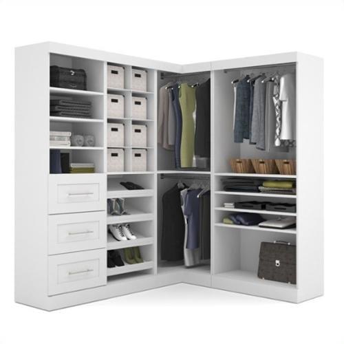 """Bestar Pur 82"""" 4-Piece Corner Storage Unit in White"""