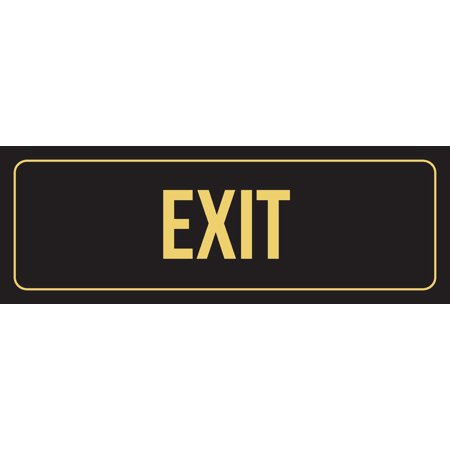 Black Background With Gold Font Exit Office Business Retail Outdoor & Indoor Plastic Wall Sign, 3x9 Inch