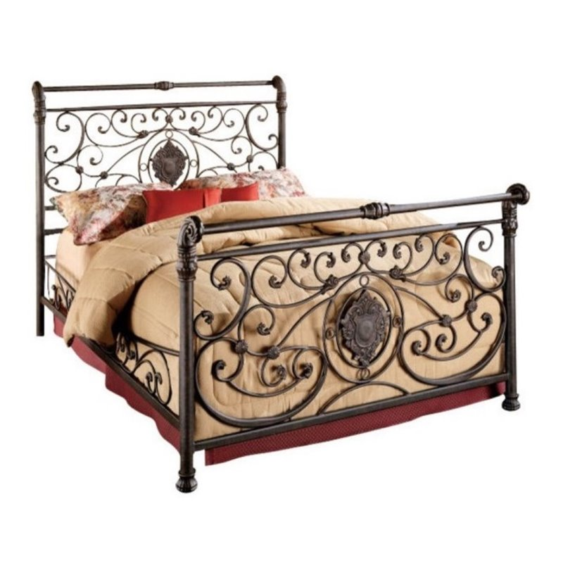 Bowery Hill Queen Metal Sleigh Bed in Antique Brown