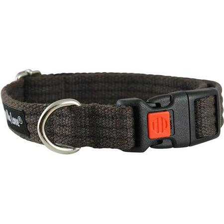 Mandarin Collar Cotton (Cotton Web Adjustable Dog Collar with Locking Device 4 Sizes Brown (Small: Neck 11.5