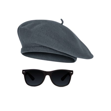 1950s Beatnik Hipster Combo Kit Beret and (Brown Hipster Glasses)