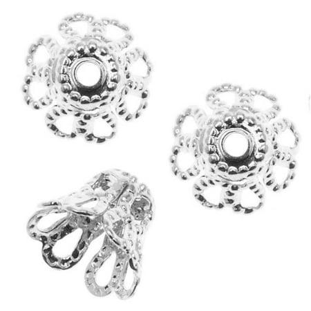 Antiqued Brass Filigree Petal Flat Top Bead Caps 7mm (Round Filigree Beads)