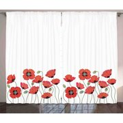Floral Curtains 2 Panels Set, Bright Poppy Flowers in Garden Fresh Plants Idyllic Nature Fragrance Theme Artprint, Window Drapes for Living Room Bedroom, 108W X 84L Inches, Red Green, by Ambesonne