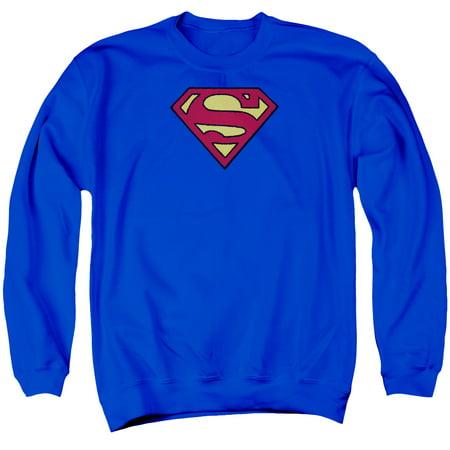 SUPERMAN/SUPERMAN CHENILLE EMBLEM - ADULT CREWNECK SWEATSHIRT - ROYAL BLUE - LG