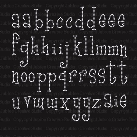 - Girly Font Lowercase Alphabet Iron On Rhinestone Transfer