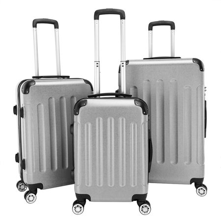 """Zimtown Suitcase Set 3-in-1 Portable ABS Trolley Case 20"""" / 24"""" / 28"""" Gray"""