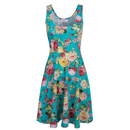 TAM WARE Womens Casual Fit and Flare Floral Sleeveless Dress - Blue Christmas Dresses For Girls