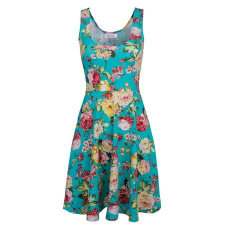 TAM WARE Womens Casual Fit and Flare Floral Sleeveless Dress](Navy Tutu Dress)