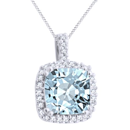 Cushion Cut Simulated Blue Aquamarine With Accent Halo Pendant Necklace In 10K Solid White (Cushion Cut Aquamarine Pendant)