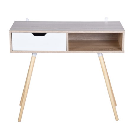 Ulton Brown Office Desk - Light Wood and 1 White Drawer - image 2 of 9