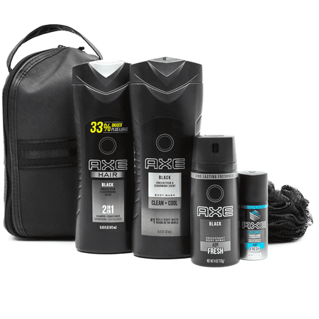 AXE 5-pc Black Holiday Gift Set (Shampoo, Bodywash, Body Spray with Bonus Pouf)