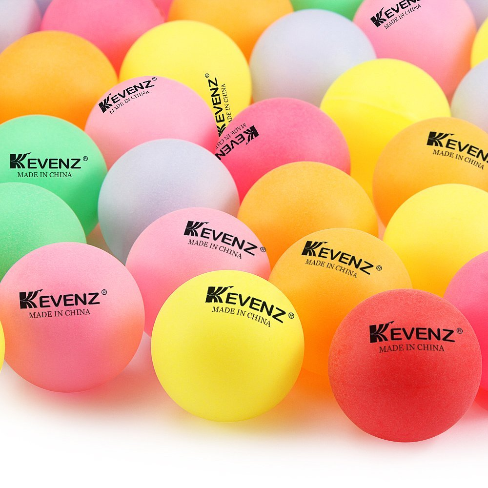 50 Counts KEVENZ 40mm Beer Ping-Pong Multipul Color Balls, Plastic Table Tennis Ball