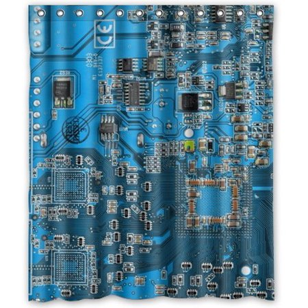 Gecko Circuit Board - HelloDecor Geek Circuit Board Shower Curtain Polyester Fabric Bathroom Decorative Curtain Size 60x72 Inches