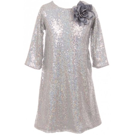 Little Girls Shiny Sequin Short Sleeve Holiday Christmas Party Flower Girl Dress Silver 4 (K40D8) for $<!---->