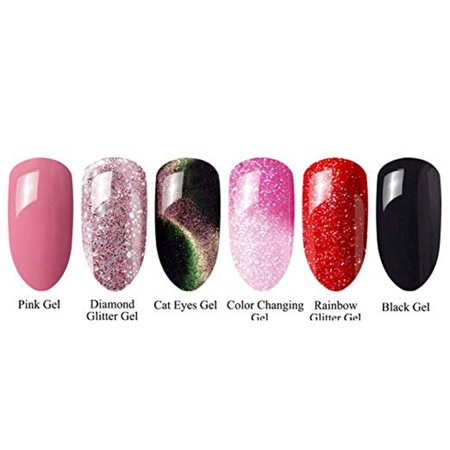 NK Gel Nail Polish Soak Off UV LED Nail Lamp - 6 Colors Nail Collection Rainbow Glitter Gel Cat Eyes Color Changing Chameleon](Halloween Glitter Nail Polish)