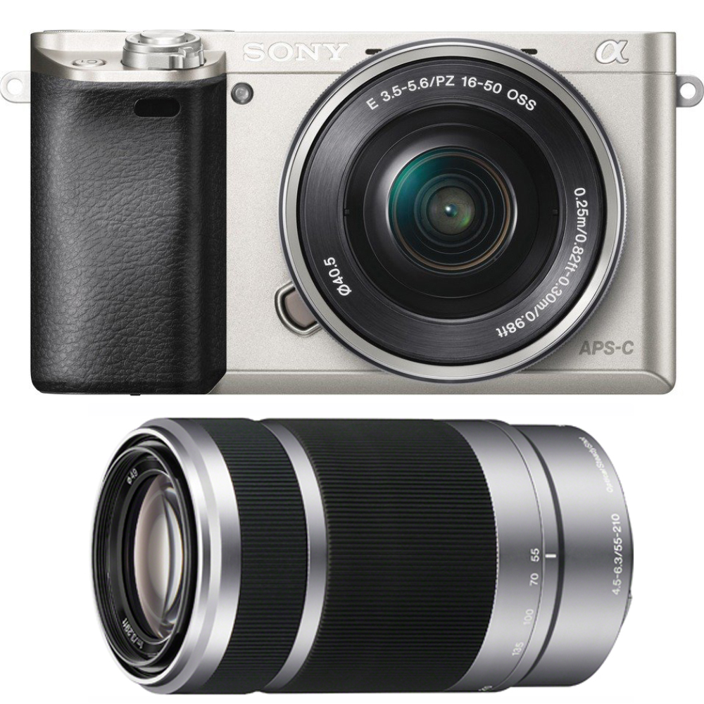 Sony Alpha a6000 Camera with 55-210mm and 16-50mm Power Zoom Lenses - Includes Camera with 16-50mm Power Zoom Lens and 55-210mm Zoom Lens (Silver)