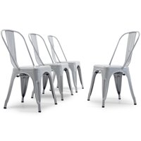 Belleze Set of 4PC Indoor Outdoor Kitchen Bar Chairs Dining Chair, Gray