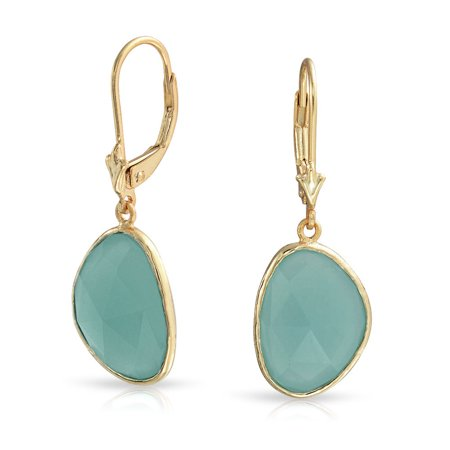 Faceted Stone Bezel Dangle Leverback Aqua Green Simulated Chalcedony Earrings For Women 14K Gold Plated Sterling Silver (Lucky Chalcedony Earrings)