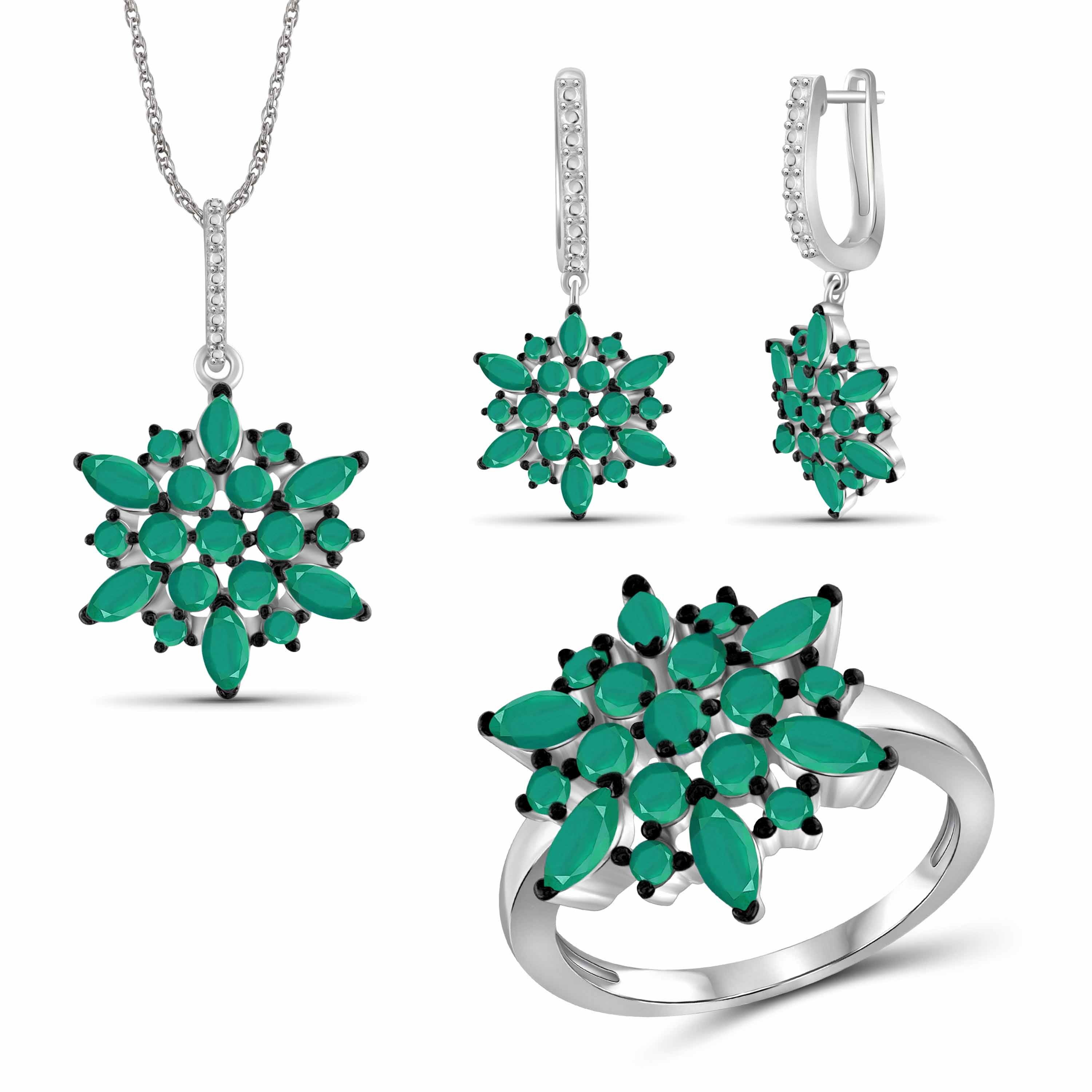 JewelersClub 7.00 Carat T.G.W. Emerald Sterling Silver 3-Piece Jewelry set
