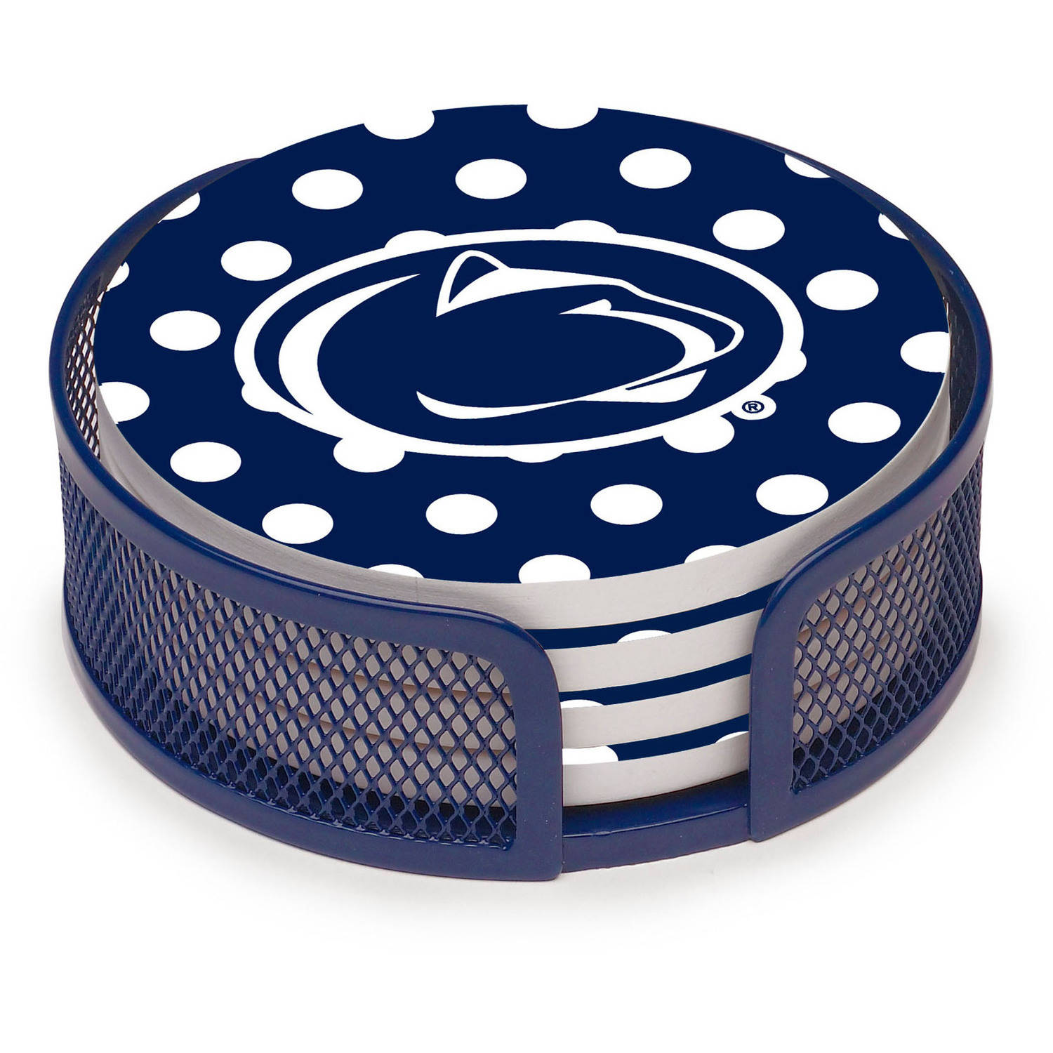 Thirstystone Stoneware Drink Coaster Set with Holder Included, Penn State University Dots