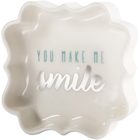 Pavilion - You Make Me Smile - Teal & Silver - 3 Inch Mini Jewelry Dish with Gift
