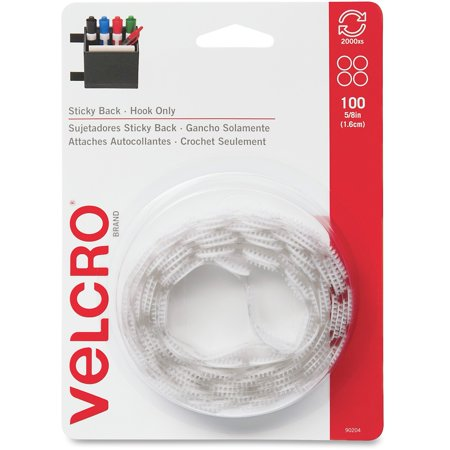 VELCRO® Brand Sticky Back 5/8in hook circles. white. 100 ct. 4/36 (TRI) (Sticky Tack)