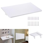 """Yescom Wall Mounted Floating Folding Computer Desk 66lbs Weight Capacity PC Dining Wooden Table 23 5/8"""" x 15 3/4"""" White"""