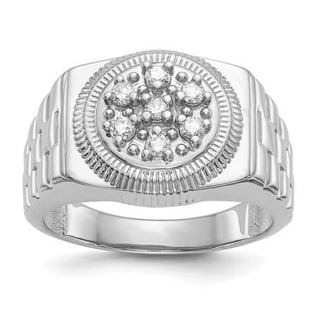 a820221facc7f 14K White Gold 15 MM Men's Diamond Rolex Design Ring, Size 10 (0.25 CTW)