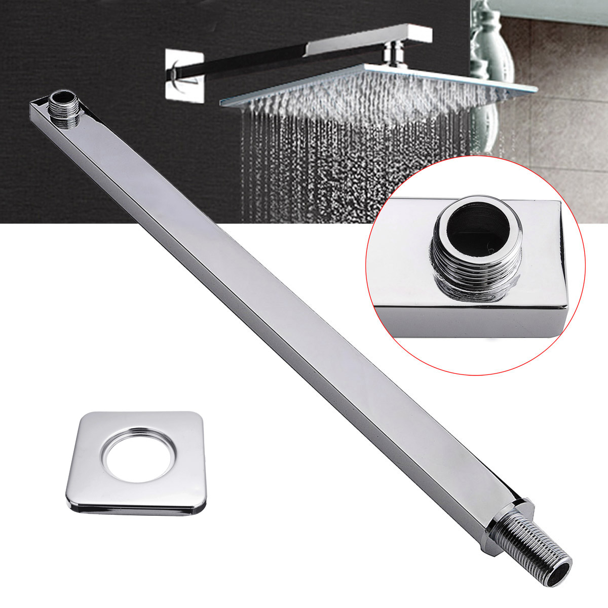"""24""""  Square Chrome Wall Mounted Shower Extension Arm 60cm For Rain Shower Head"""