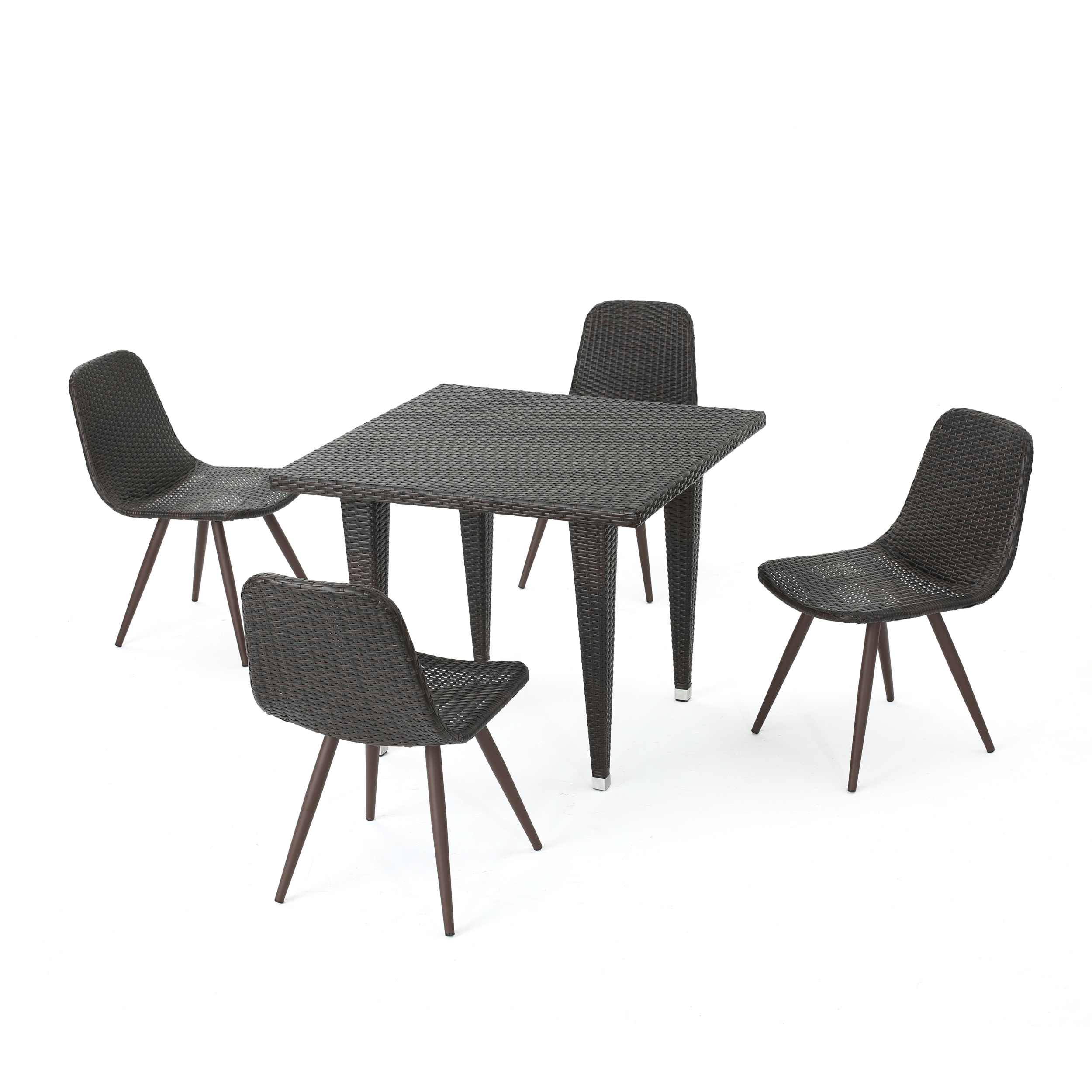 Tomley Outdoor 5 Piece Wicker 35 Inch Square Dining Set, Multibrown