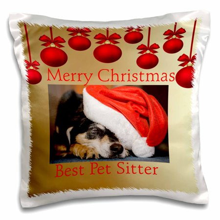 3dRose Image of Merry Christmas Best Pet Sitter With Ornaments - Pillow Case, 16 by (Best Selling Pillow Pets)
